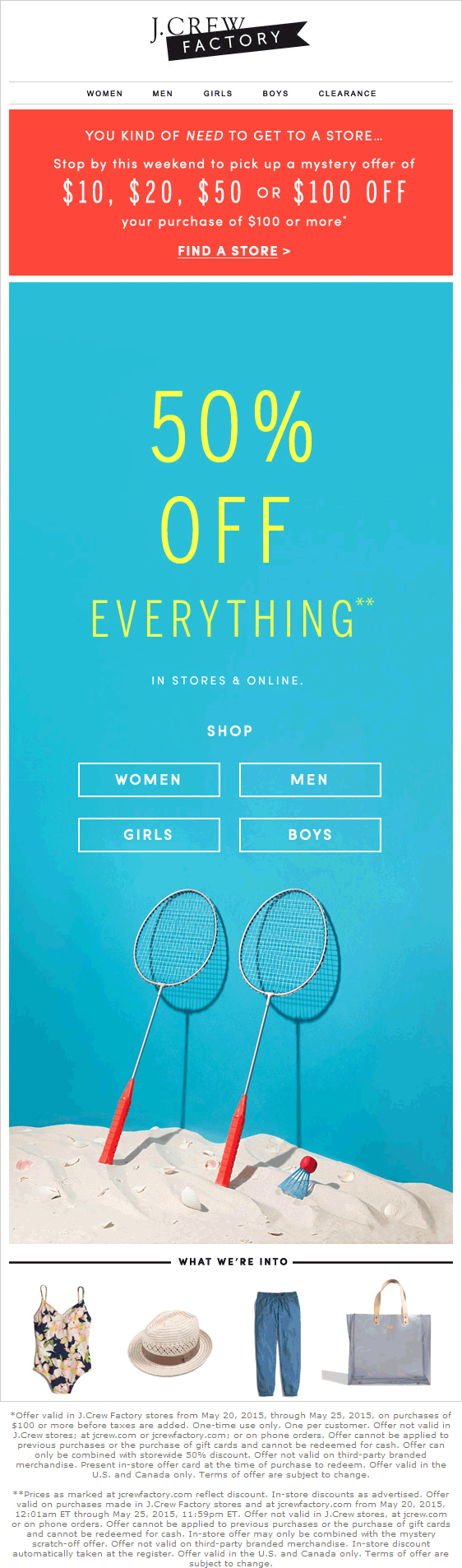 J.Crew Factory Coupon April 2019 50% off everything & more at J.Crew Factory, ditto online