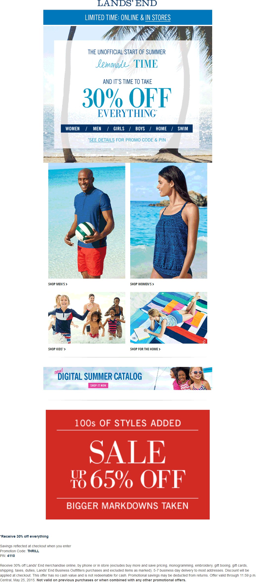 Lands End Coupon March 2018 30% off everything at Lands End, or online via promo code THRILL & pin 4110