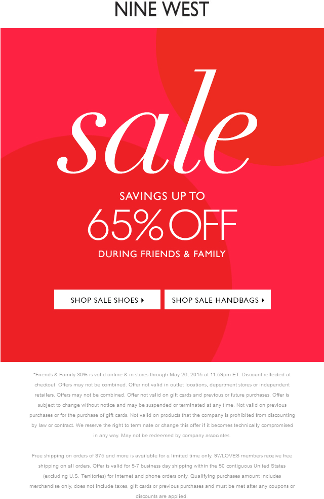 Nine West Coupon March 2018 30-65% off at Nine West, ditto online