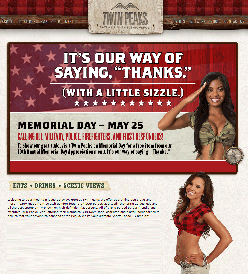 Twin Peaks Coupon June 2017 Safety & military enjoy a free item Monday at Twin Peaks restaurants