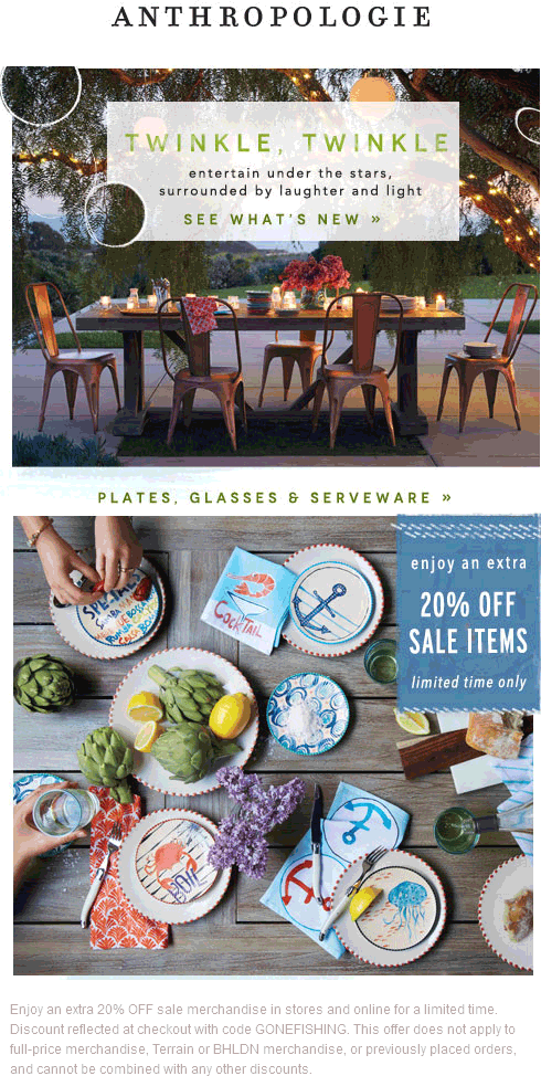 Anthropologie Coupon June 2017 Extra 20% off sale items at Anthropologie, ditto online