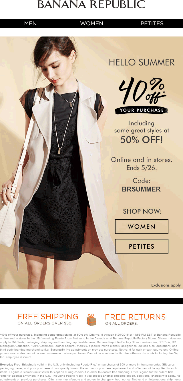 Banana Republic Coupon October 2016 40% off at Banana Republic, or online via promo code BRSUMMER