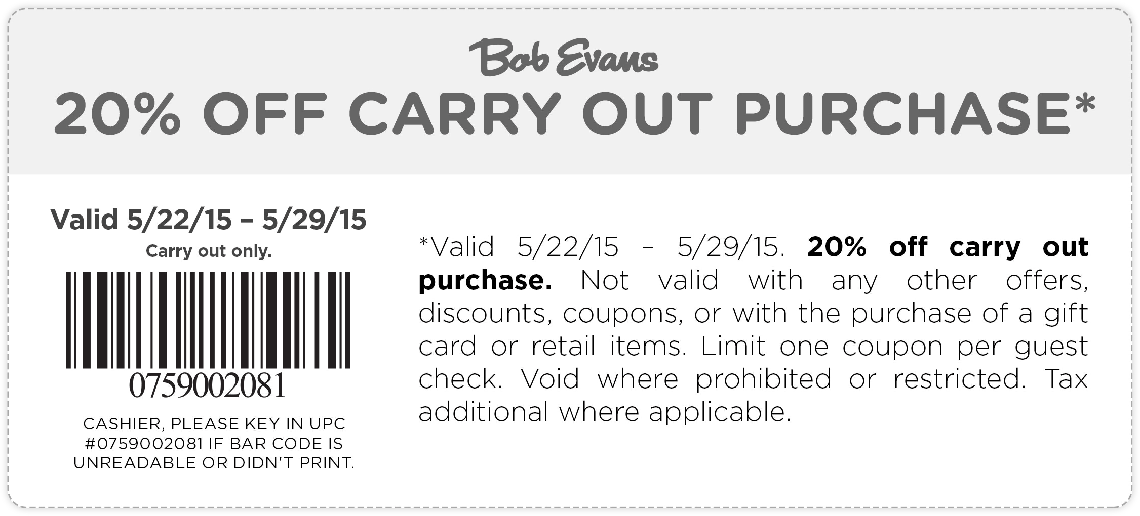 Bob Evans Coupon January 2017 20% off takeout at Bob Evans restaurants