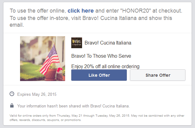 Bravo! Cucina Italiana Coupon January 2017 20% off at Bravo! Cucina Italiana restaurants, also online via promo code HONOR20