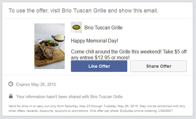 Brio Tuscan Grille Coupon January 2018 $5 off your entree at Brio Tuscan Grille