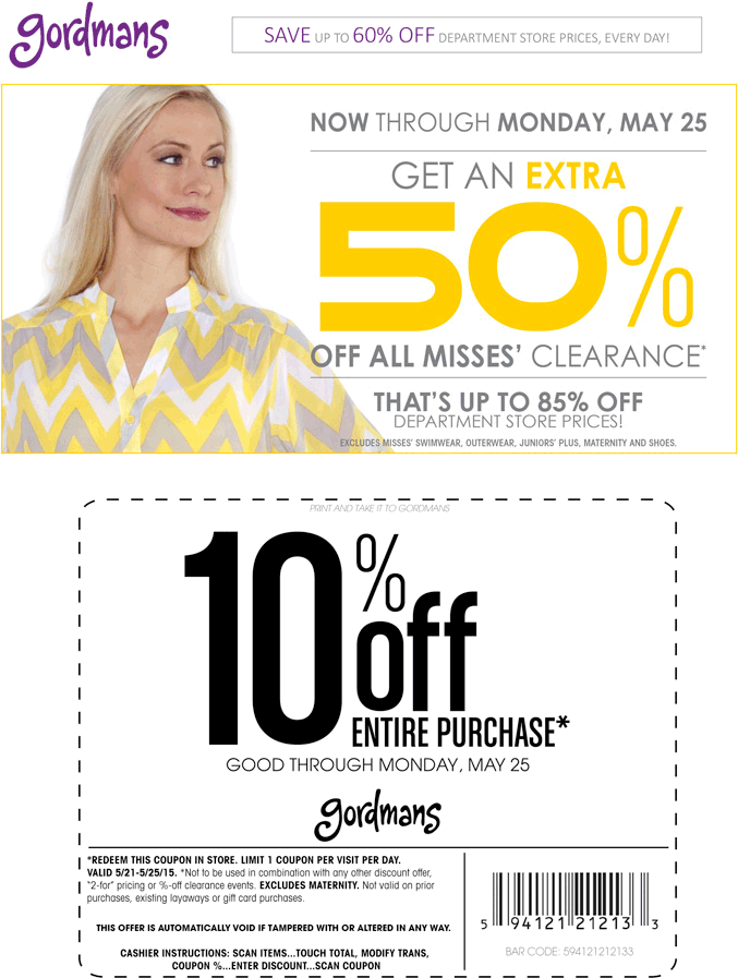 Gordmans Coupon August 2017 10% off everything + 50% off misses clearance at Gordmans
