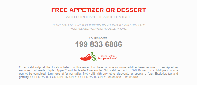 Chilis Coupon March 2017 Free appetizer or dessert with your entree at Chilis
