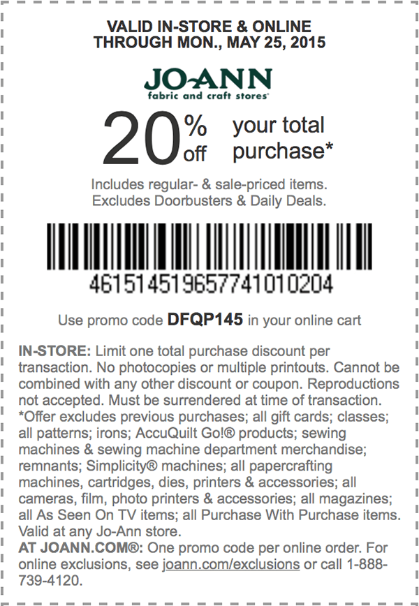 Jo-Ann Coupon May 2018 20% off everything today at Jo-Ann Fabric, or online via promo code DFQP145