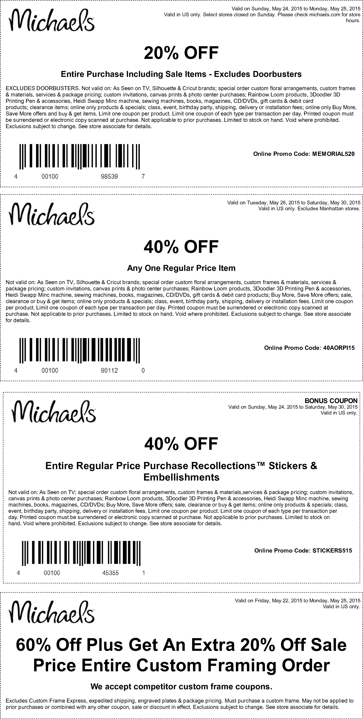 Michaels Coupon February 2017 20% off everything, 40% off a single item at Michaels, or online via promo code 40AORPI15