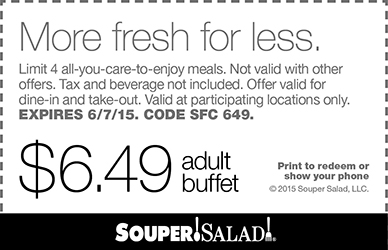 Souper Salad Coupon December 2018 $6.49 buffet at Souper Salad restaurants