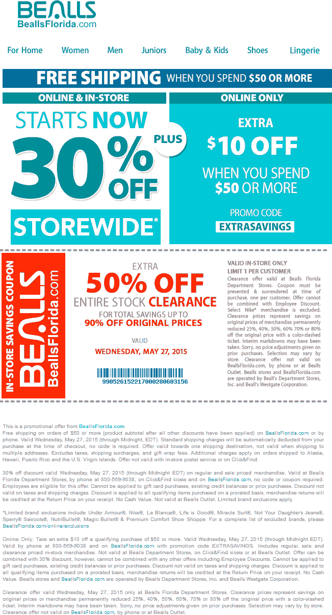 Bealls Coupon January 2017 30% off everything + 50% off clearance today at Bealls, or online with extra $10 off $50 via promo EXTRASAVINGS