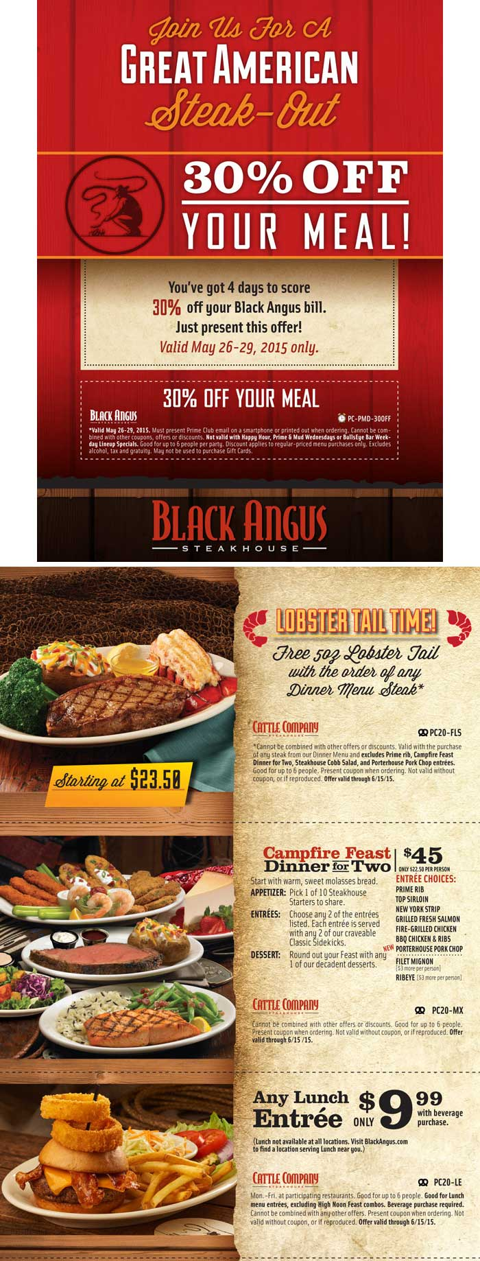 Black Angus Coupon October 2016 Free lobster with your steak, 30% off & more at Black Angus
