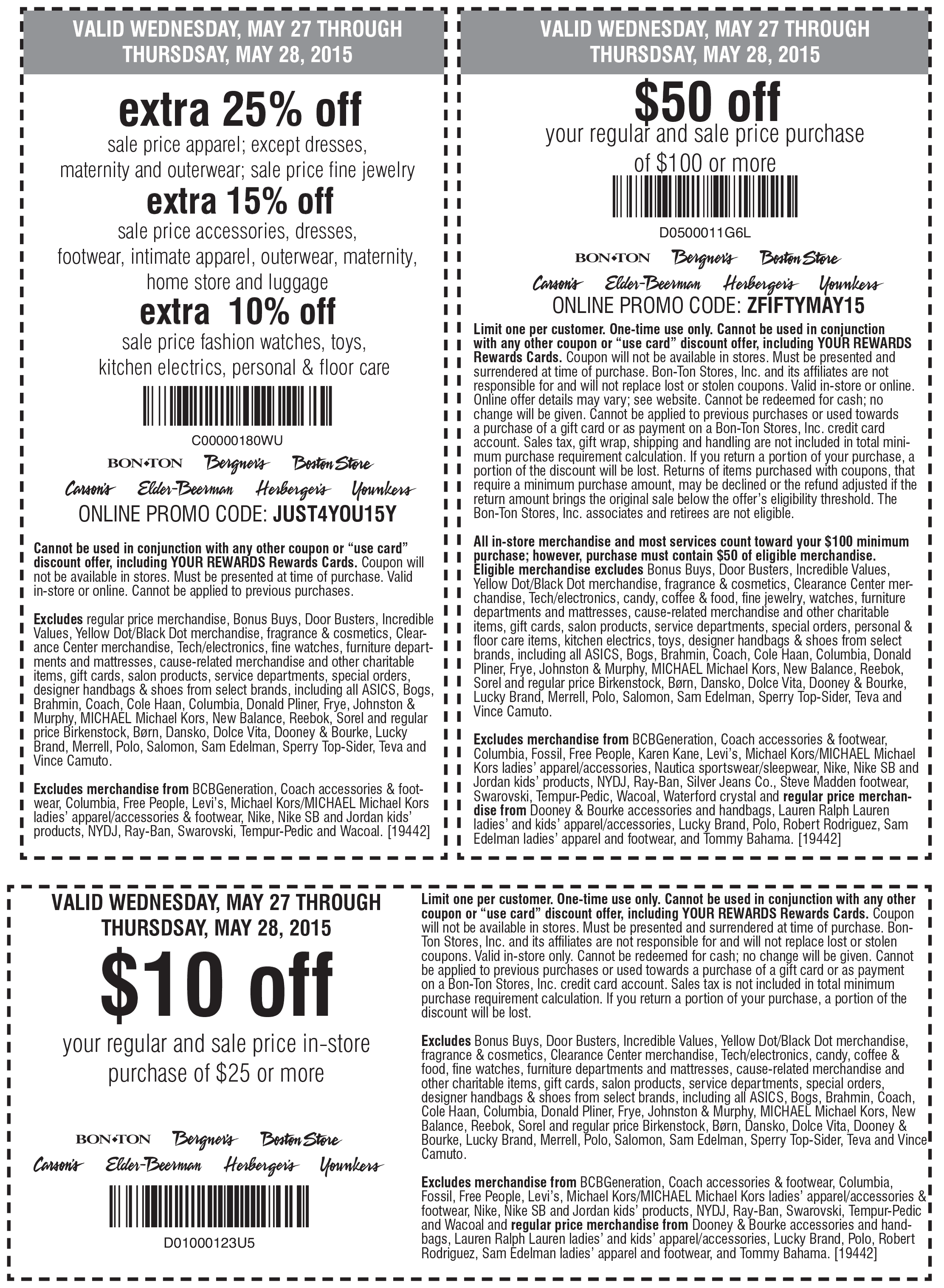 Carsons Coupon December 2016 $50 off $100 & more at Carsons, Bon Ton & sister stores, or online via promo code ZFIFTYMAY15