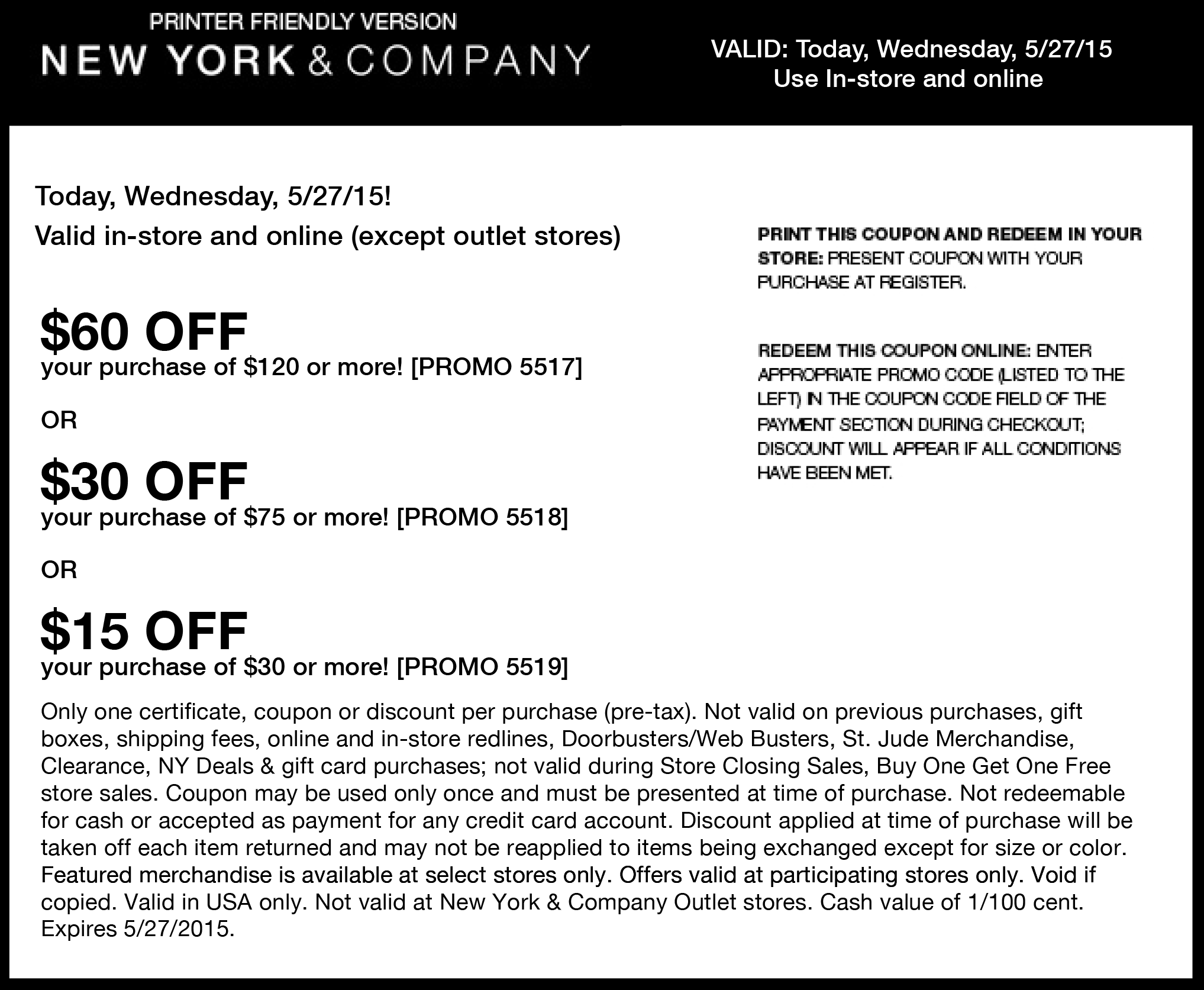 New York & Company Coupon October 2018 $15 off $30 & more today at New York & Company, or online via promo code 5519