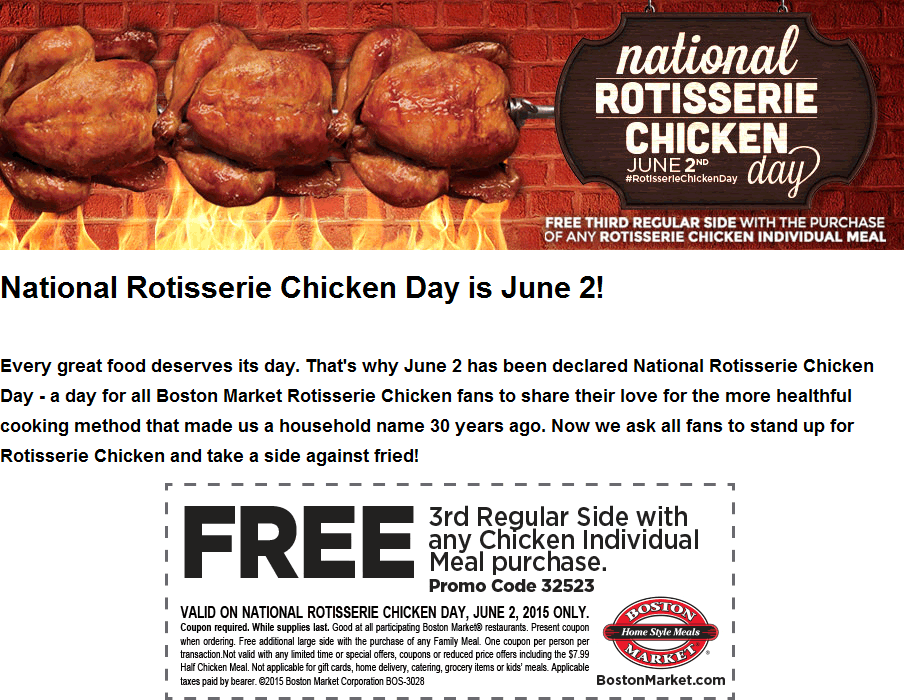 Boston Market Coupon September 2017 Free side with your meal Tuesday at Boston Market