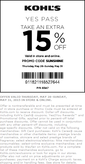 Kohls Coupon March 2017 15% off at Kohls, or online via promo code SUNSHINE