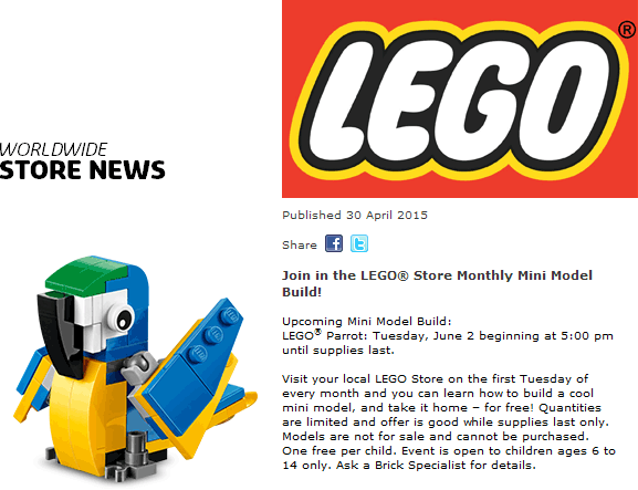 LEGO Coupon July 2018 Free parrot build 5pm Tuesday at LEGO Store