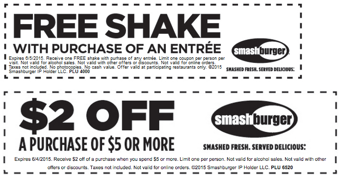 Smashburger Coupon July 2018 Free shake with your entree & more at Smashburger