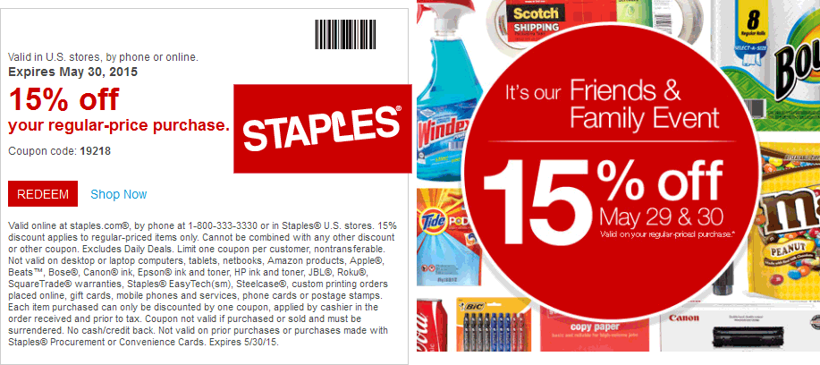 Staples Coupon October 2017 15% off at Staples, ditto online