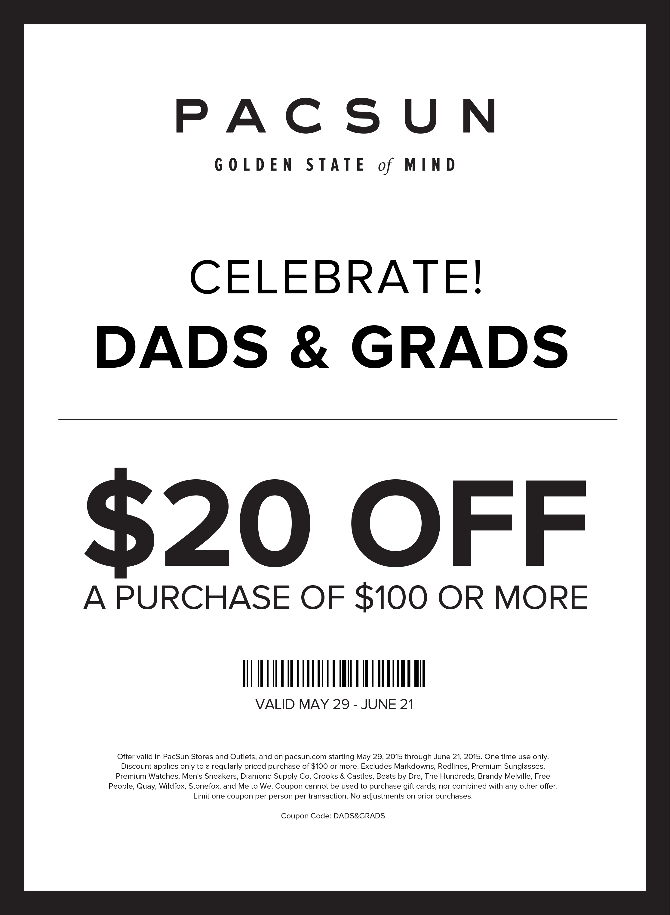 PacSun Coupon September 2017 $20 off $100 at PacSun & PacSun Outlet, or online via promo code DADS&GRADS
