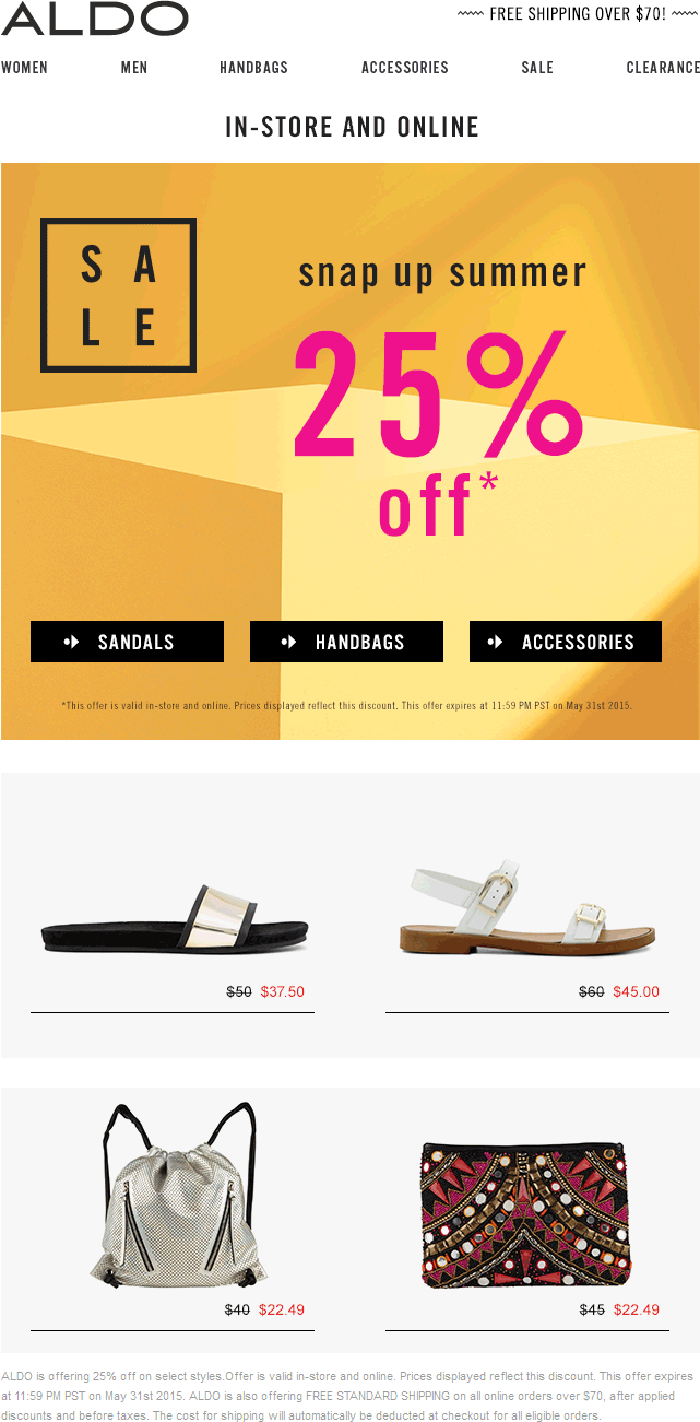 Aldo Coupon March 2018 25% off today at ALDO shoes, ditto online