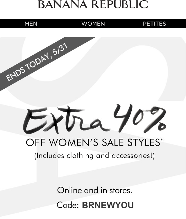 Banana Republic Coupon November 2018 Extra 40% off womens sale items today at Banana Republic, or online via promo code BRNEWYOU