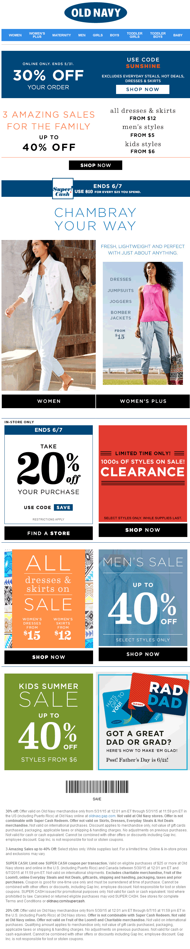 Old Navy Coupon May 2018 20% off at Old Navy, or 30% online via promo code SUNSHINE