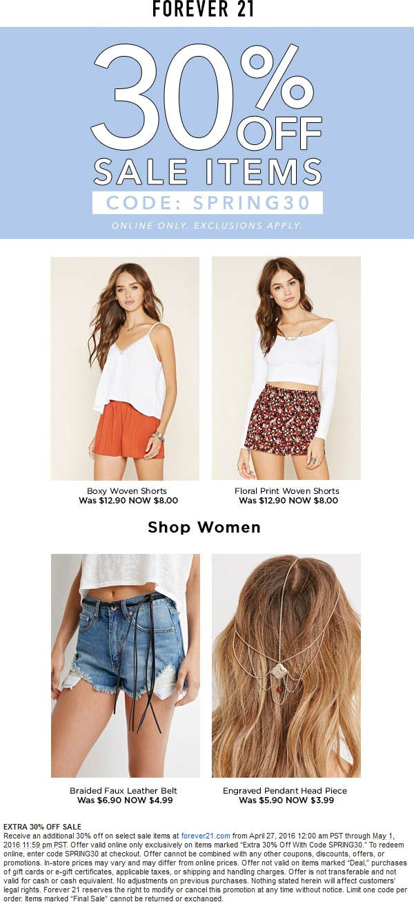 Forever 21 Coupon November 2017 Extra 30% off sale items online today at Forever 21