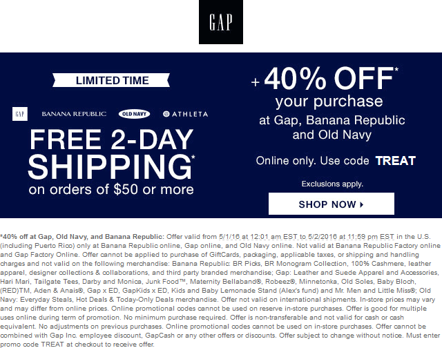 Banana Republic Coupon November 2017 40% off online at Gap, Old Navy, and Banana Republic via promo code TREAT
