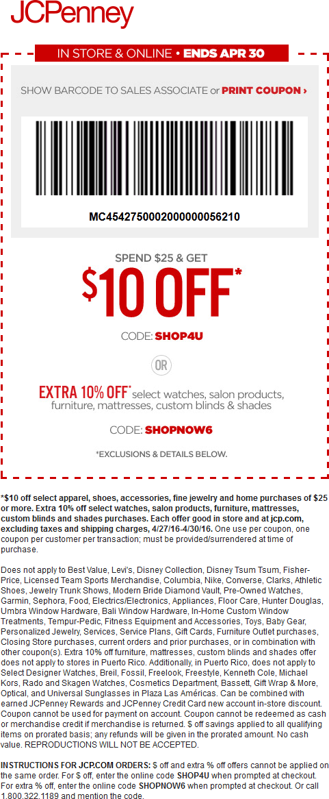 JCPenney Coupon January 2018 $10 off $25 at JCPenney, or online via promo code FUNSHOP4