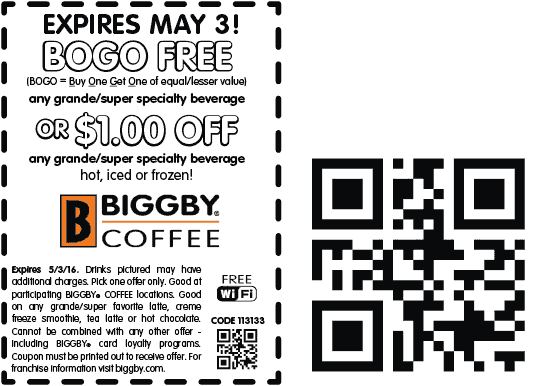 Biggby Coffee Coupon April 2017 Second coffee free at Biggby Coffee