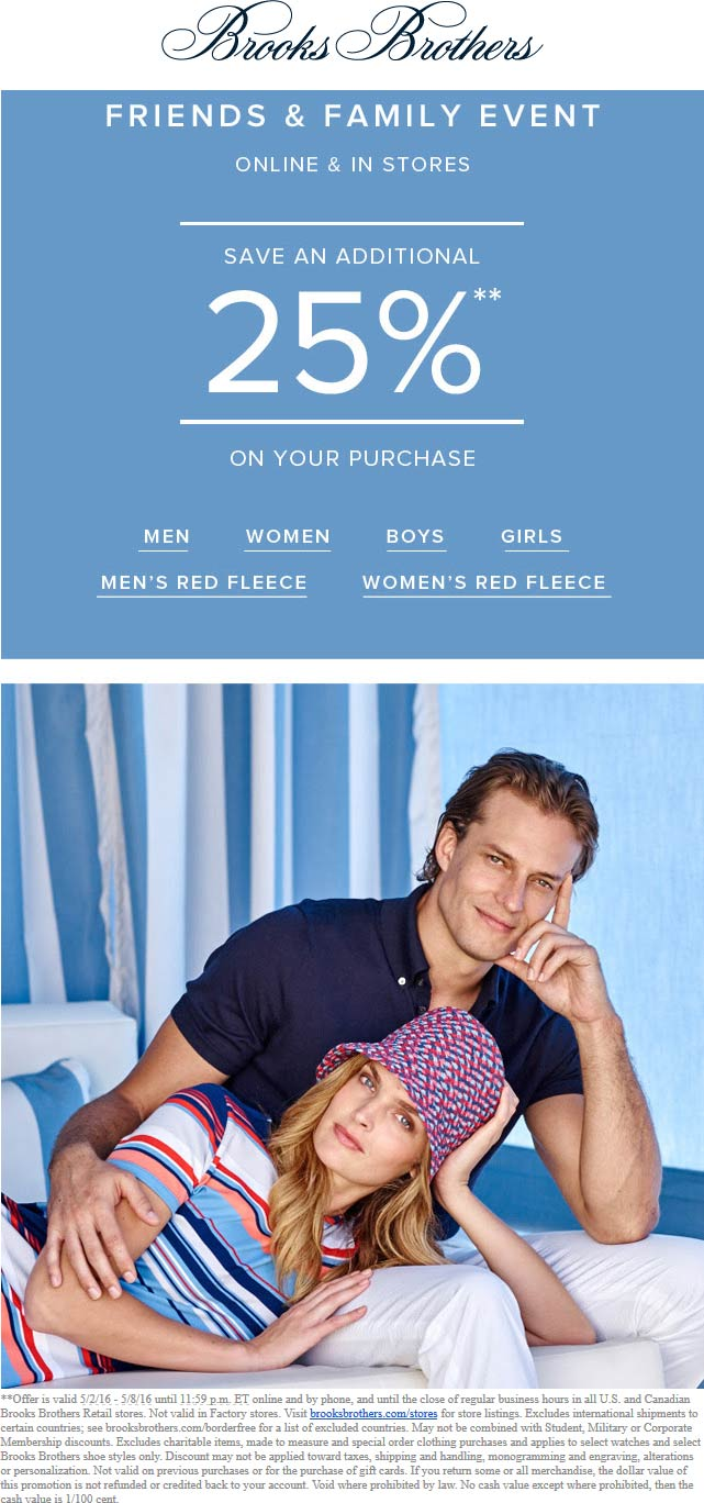 Brooks Brothers Coupon January 2017 25% off at Brooks Brothers, ditto online