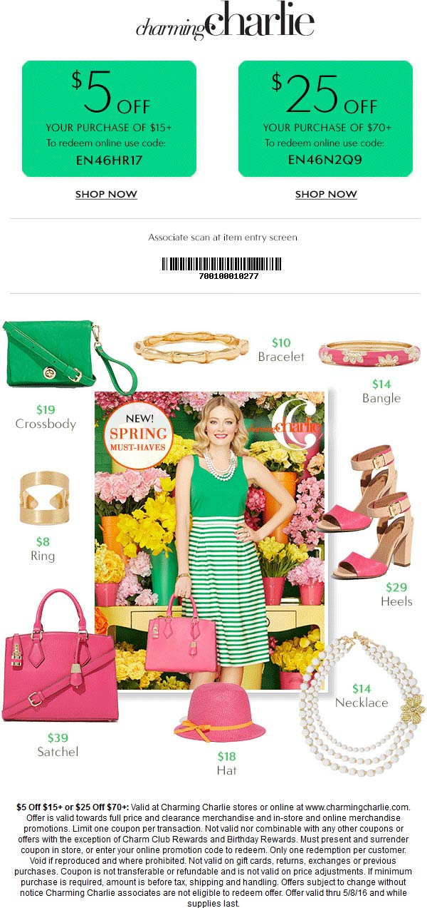 Charming Charlie Coupon February 2017 $5 off $15 & more at Charming Charlie, or online via promo code EN46HR17
