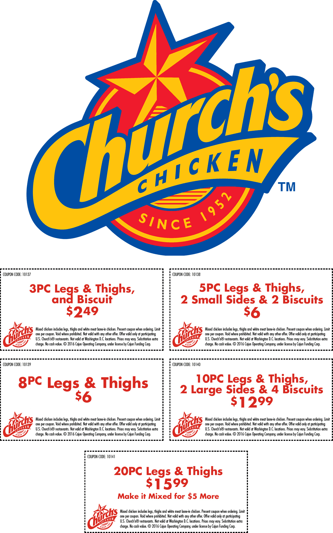 Churchs Chicken Coupon April 2018 5pc + 2 sides + 2 biscuits = $6 & more at Churchs Chicken