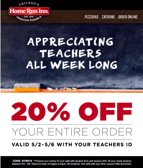 Home Run Inn Coupon May 2017 Teachers enjoy 20% off at Home Run Inn pizza restaurants