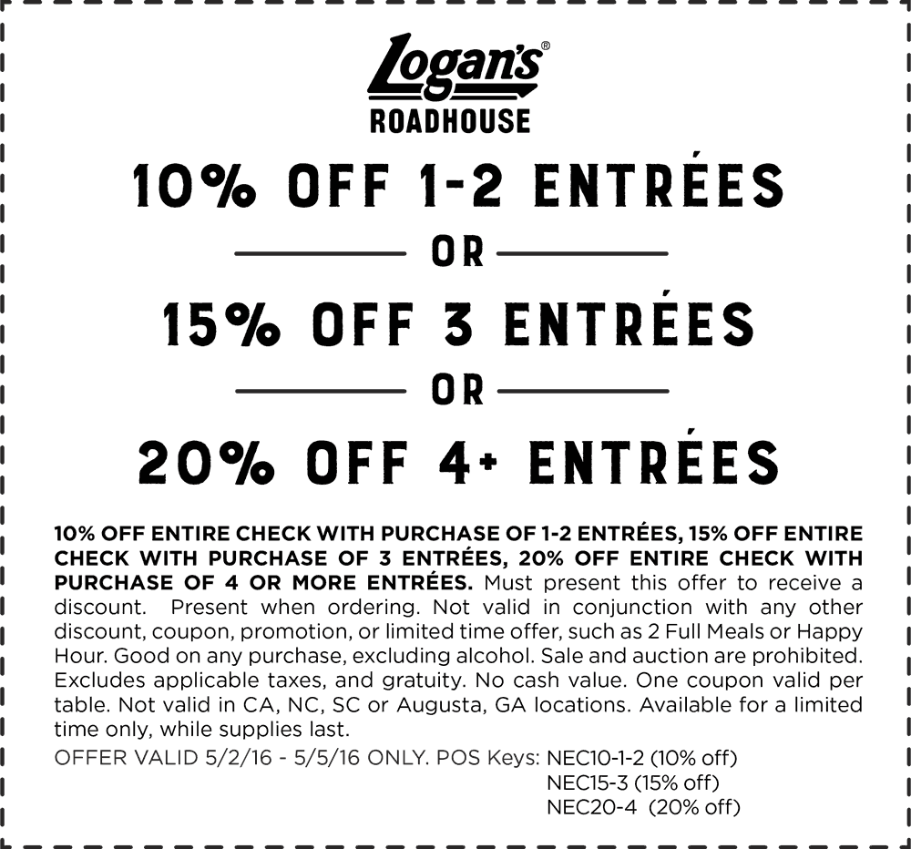 Logans Roadhouse Coupon February 2017 10-20% off at Logans Roadhouse restaurants