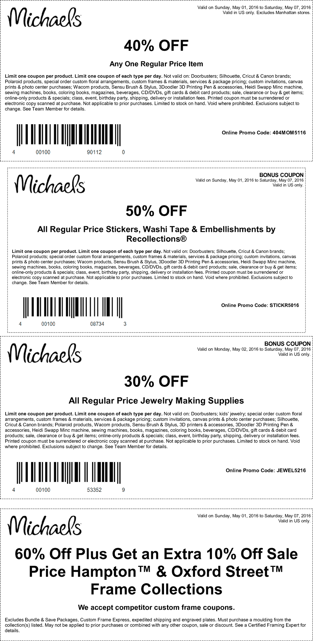 Michaels Coupon April 2017 40% off a single item & more at Michaels, or online via promo code 404MOM5116