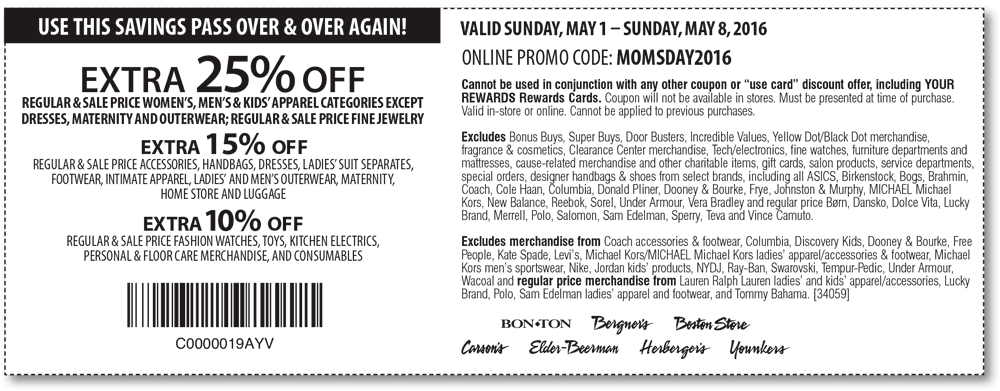 Carsons Coupon May 2018 Extra 25% off at Carsons, Bon Ton & sister stores, or online via promo code MOMSDAY2016