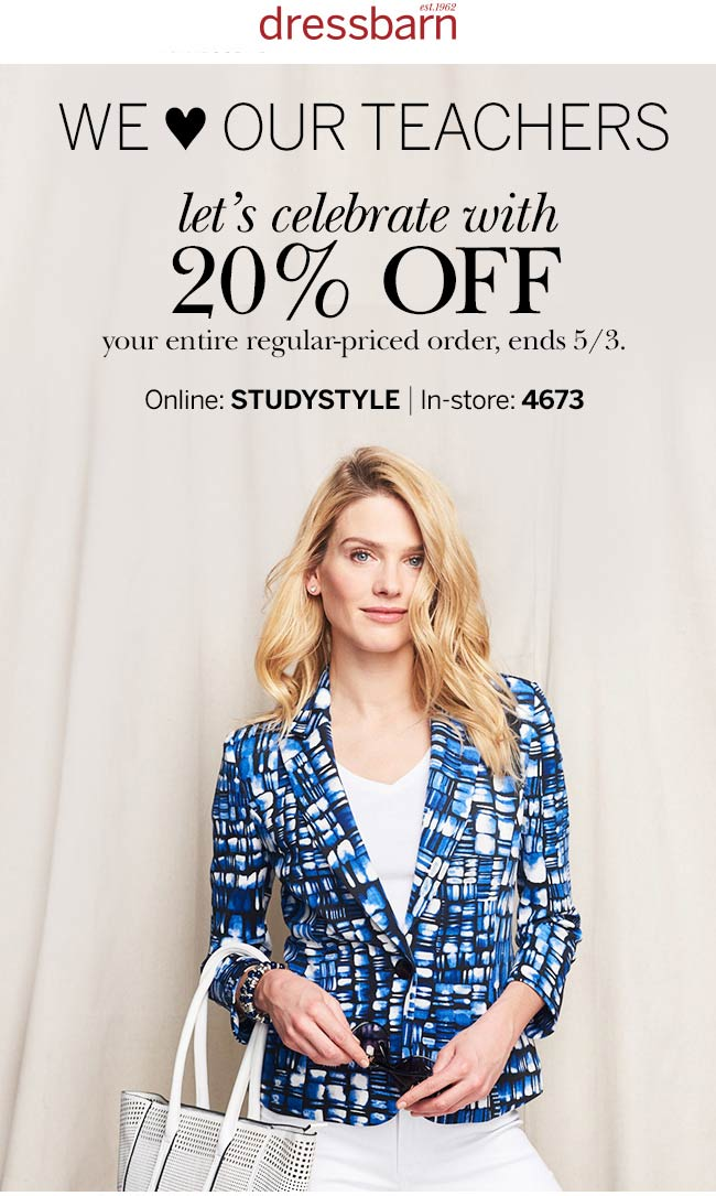 Dressbarn Coupon March 2018 20% off today at Dressbarn, or online via promo code STUDYSTYLE