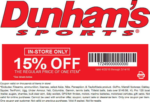 Dunhams Sports Coupon January 2017 15% off a single item at Dunhams Sports