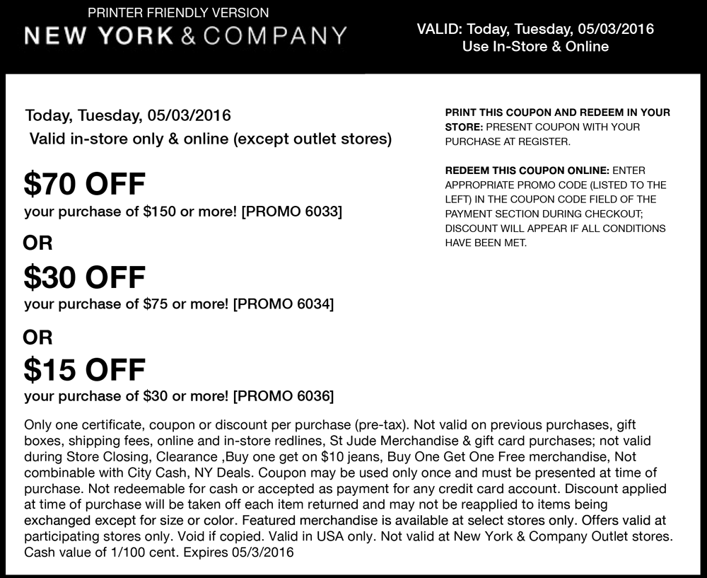 New York & Company Coupon June 2017 $15 off $30 & more today at New York & Company, or online via promo code 6036