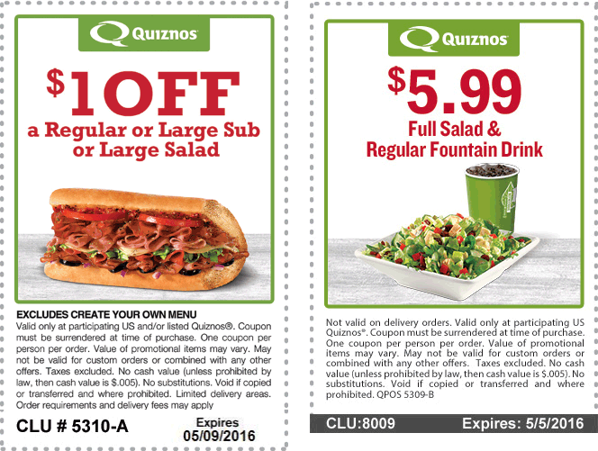 Quiznos Coupon November 2017 Shave a buck off a sub & more at Quiznos