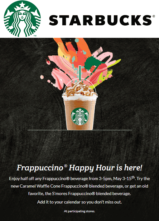 Starbucks Coupon September 2017 50% off Frappuccinos 3-5pm at Starbucks