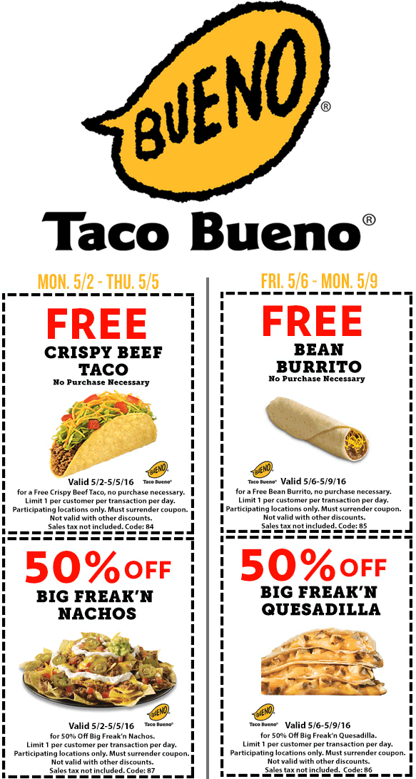 Taco Bueno Coupon November 2018 Free taco or burrito & more at Taco Bueno