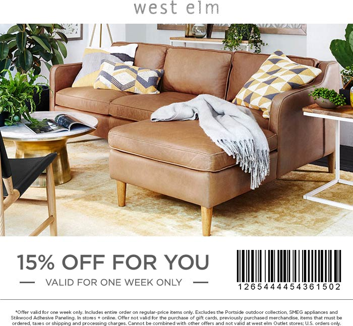 West Elm Coupon December 2016 15% off at West Elm, or online via promo code 8VXZ-MQ8J-3J8R