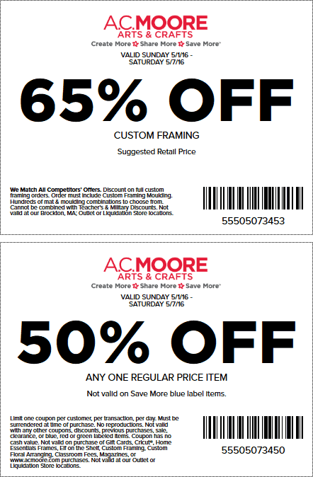 A.C. Moore Coupon September 2017 50% off a single item at A.C. Moore