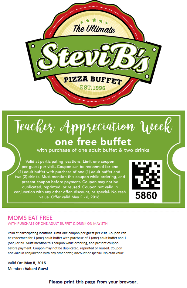 SteviBs.com Promo Coupon Second buffet free for teachers & Mom at Stevi Bs pizza