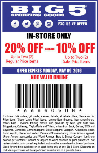 Big 5 Coupon August 2017 20% off a couple items at Big 5 sporting goods