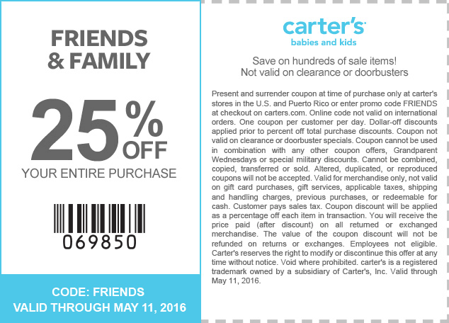 Carters Coupon February 2017 25% off at Carters, or online via promo code FRIENDS