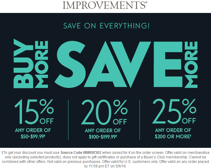Improvements Coupon January 2018 15-25% off online at Improvements via promo code MM6W302